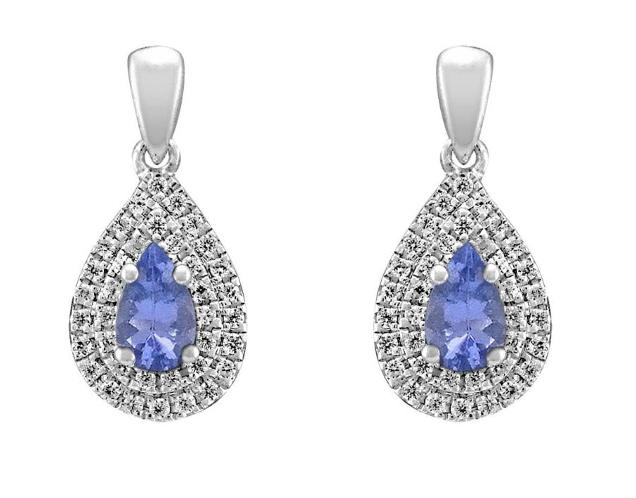 10kt White Gold Diamond and Tanzanite Earrings