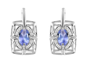 10kt White Gold 0.10cttw Diamond and Tanzanite Earrings