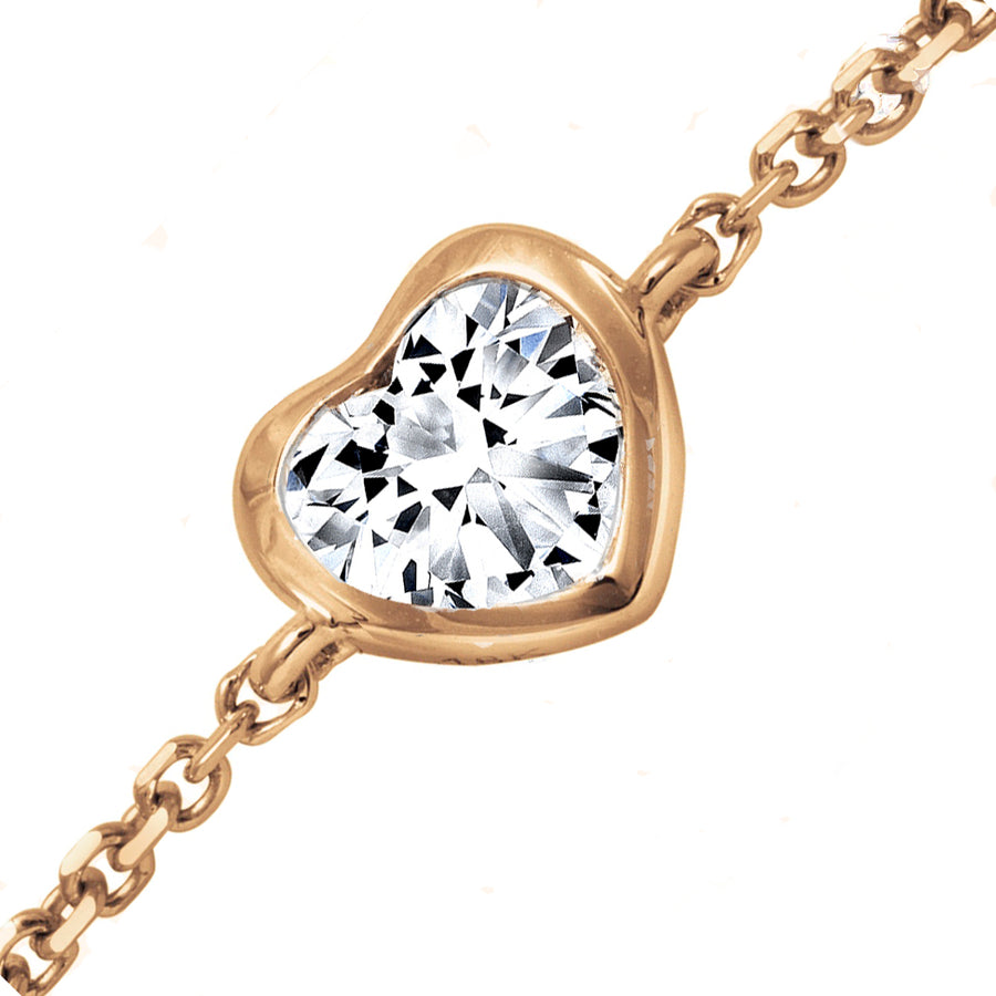 18kt Rose Gold 0.35ct Heart Shaped Diamond Chain Bracelet