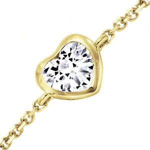 18kt Yellow Gold 0.33ct Heart Shaped Diamond Chain Bracelet
