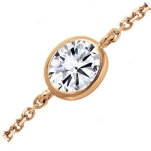 18kt Rose Gold 0.33ct Oval Cut Diamond Chain Bracelet