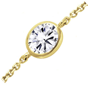 18kt Yellow Gold 0.33ct Oval Cut Diamond Chain Bracelet