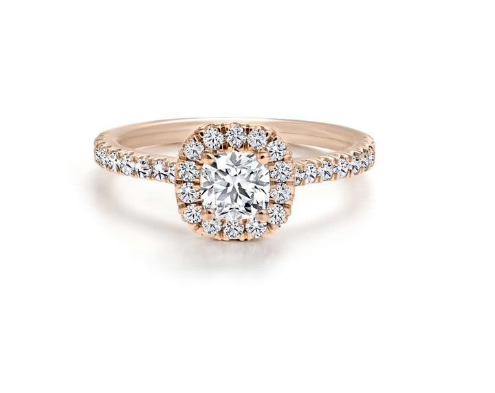 18kt Rose Gold Forevermark 1.04cttw Cushion Halo Engagement Ring