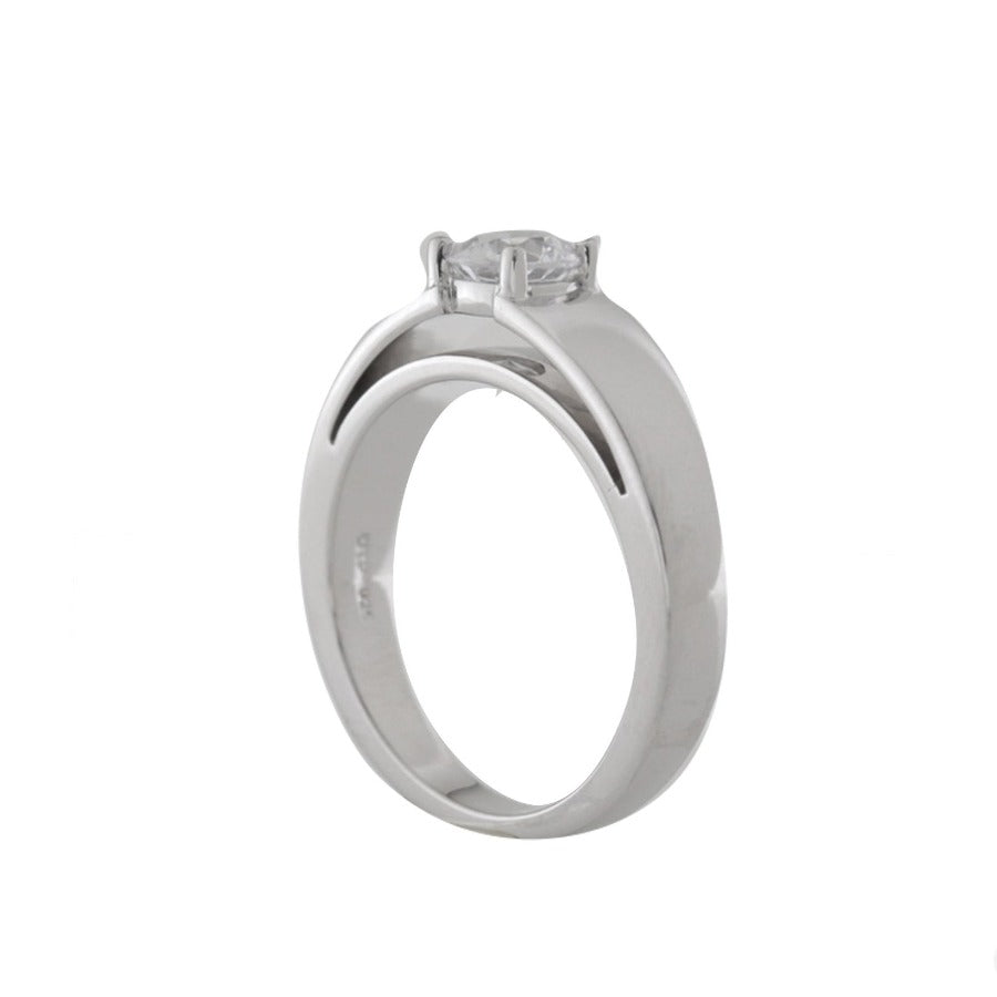 14kt White Gold Certified Solitaire Diamond Engagement Ring