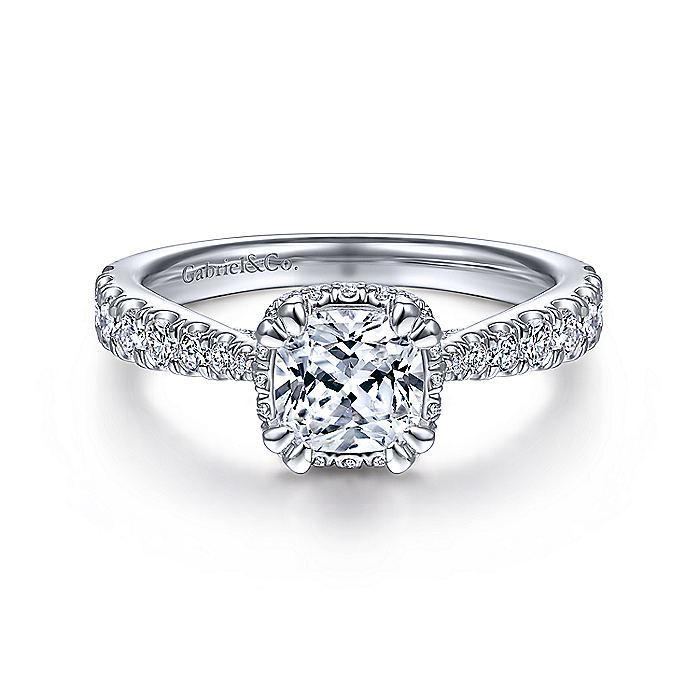 14kt White Gold Hidden Halo Cushion Cut Engagement Ring