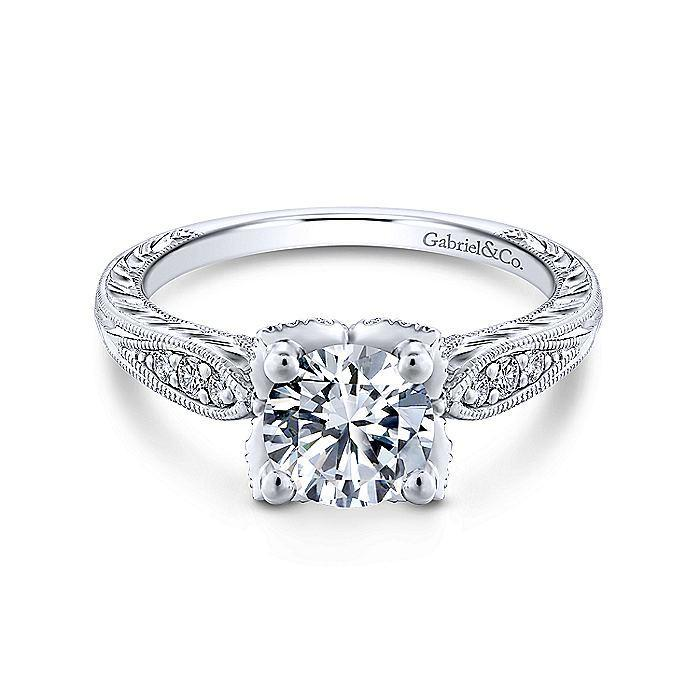 14kt White Gold Round Diamond Engagement Ring