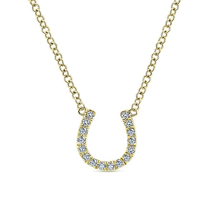14kt Yellow Gold Diamond Horseshoe Pendant Necklace
