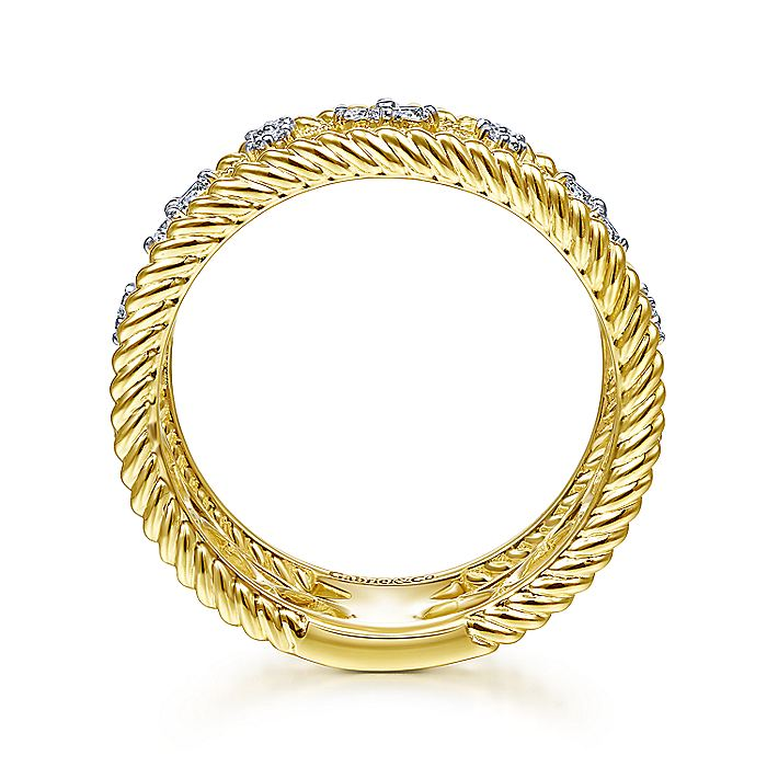 14kt Yellow Gold Wide Open Work 0.29cttw Diamond Ring with Twisted Rope Edge