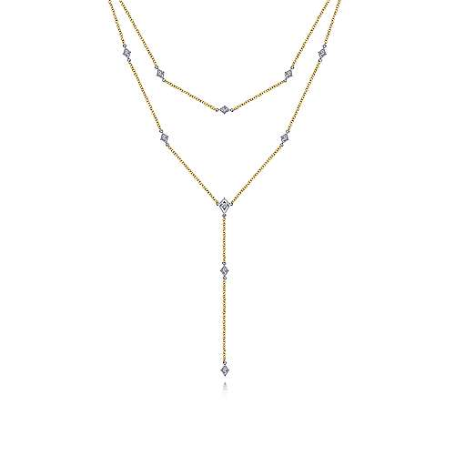 14kt Yellow and White Gold Two Strand 0.18cttw Diamond Station Y Necklace