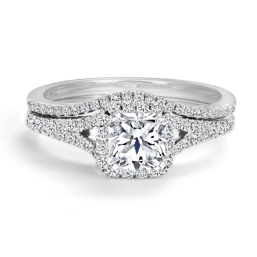 14KT WHITE GOLD 1.27CTTW ENGAGEMENT RING AND WEDDING BAND SET