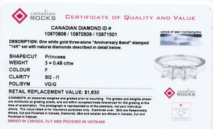 14kt White Gold Three Across Princess Cut Canadian Diamond Ring
