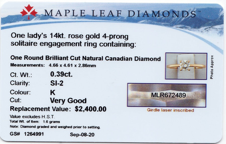 14kt Rose Gold Round Solitaire 0.39ct Canadian Diamond Engagement Ring