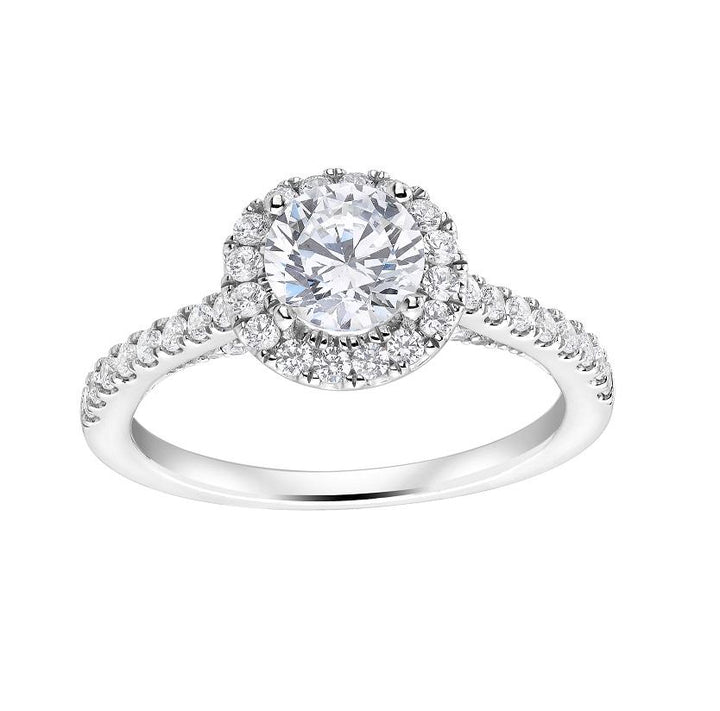 14kt White Gold 0.92cttw Certified Diamond Halo Engagement Ring