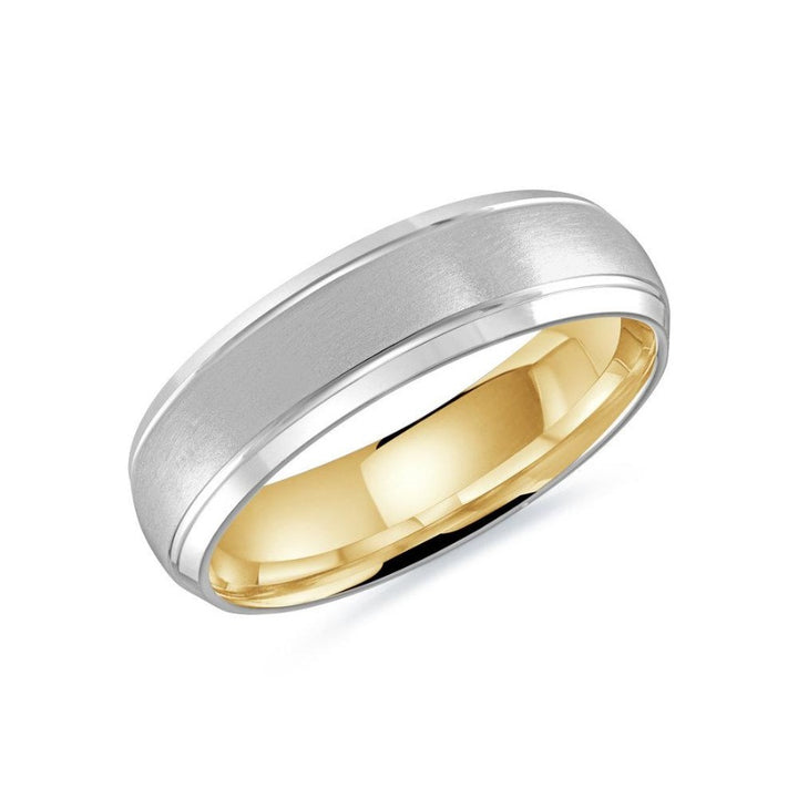 10kt White Gold Gold Men's Wedding Band With Yellow Gold Inside