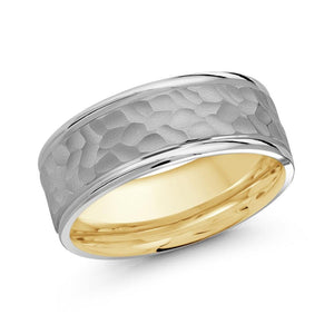 10kt White And Yellow Gold 8mm Hammered Center Wedding Band