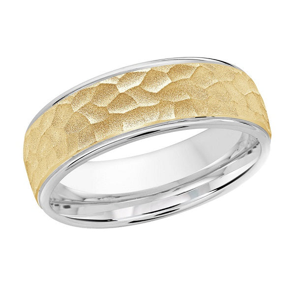 10kt Two Toned Gold Hammered Finish Men's Wedding Band