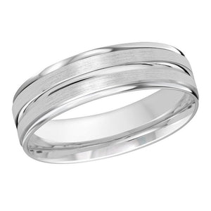 10kt White Gold Satin Finished Men's Wedding Band