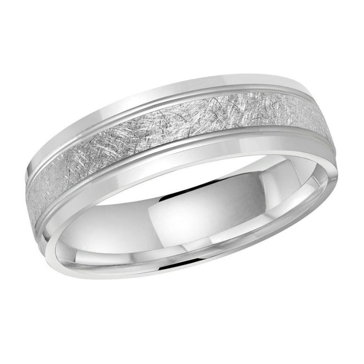 10kt White Gold 6mm Scratched Detailed Center Men's Wedding Band