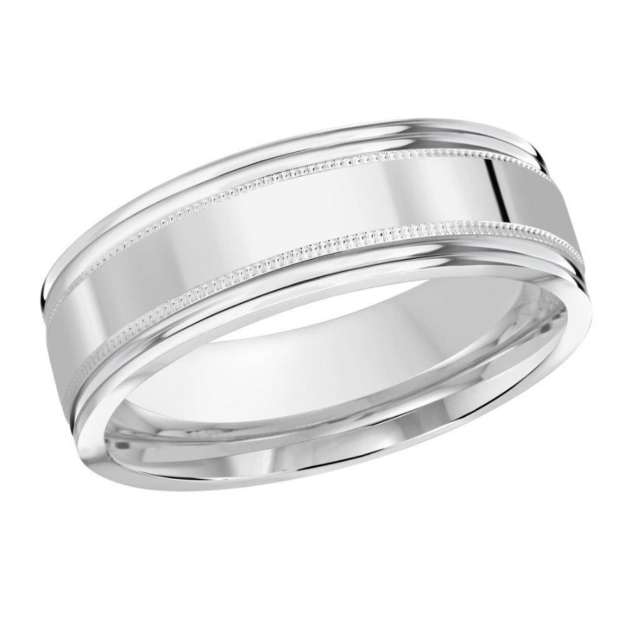10kt White Gold High Polished Men's Wedding Band