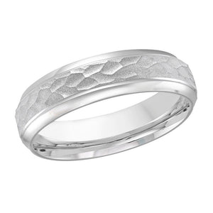 10kt White Gold Hammered Center Men's Wedding Band