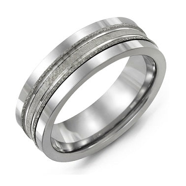 Men's Laser Finish Tungsten Wedding Band