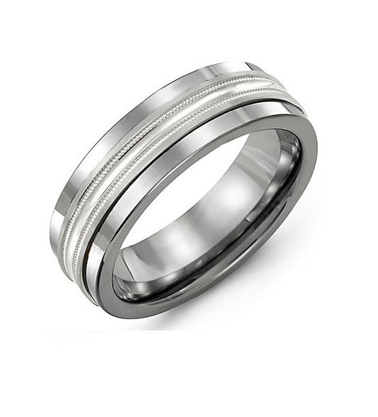 Concave Polish Center Men's Wedding Band