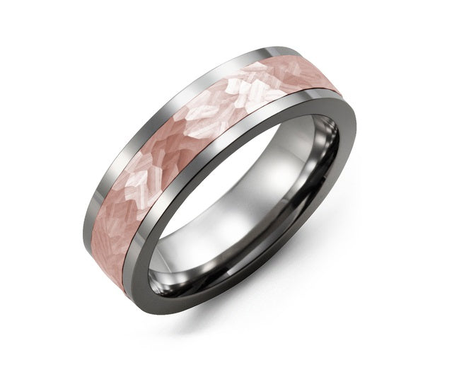 Men's Tungsten And Rose Gold Hammer Effect Wedding Band