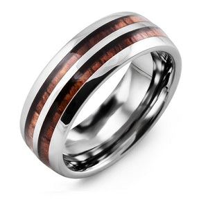 Men's Double Koa Wood Tungsten Wedding Band