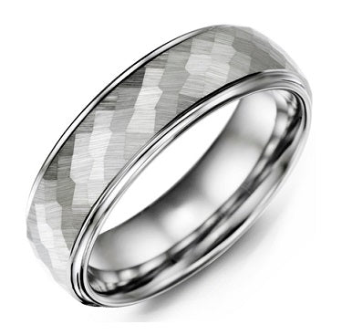 Men's Matte Hammer Accents Tungsten Wedding Ring