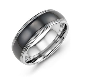 Men's Black Polished Dome Tungsten Wedding Ring