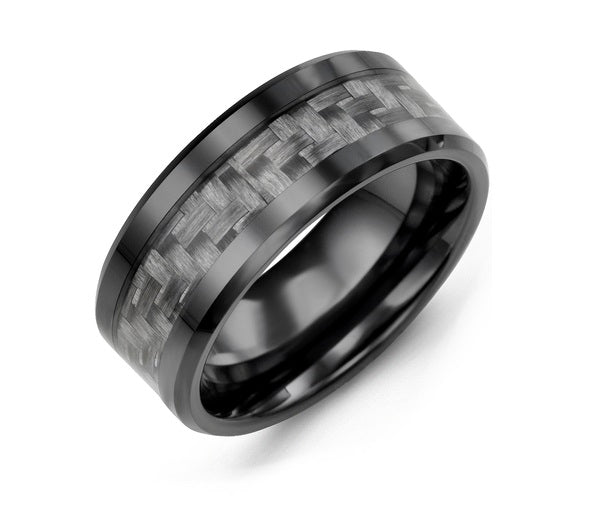Men's Beveled Carbon Fiber Ceramic Wedding Band