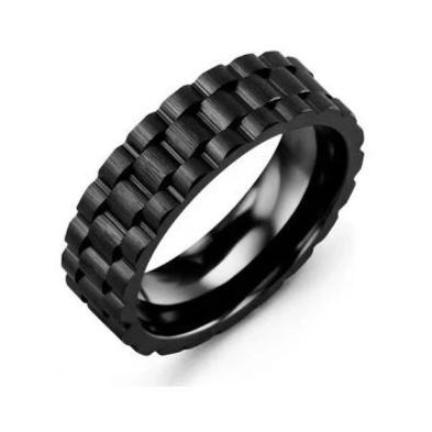 CERAMIC ETERNITY BRUSH ACCENTS MEN'S WEDDING BAND