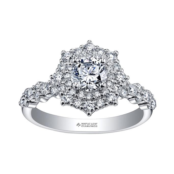 18kt White Gold 1.50cttw Canadian Diamond Halo Engagement Ring