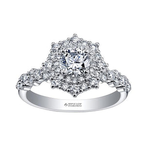 18kt White Gold 1.28cttw Maple Leaf Halo Engagement Ring
