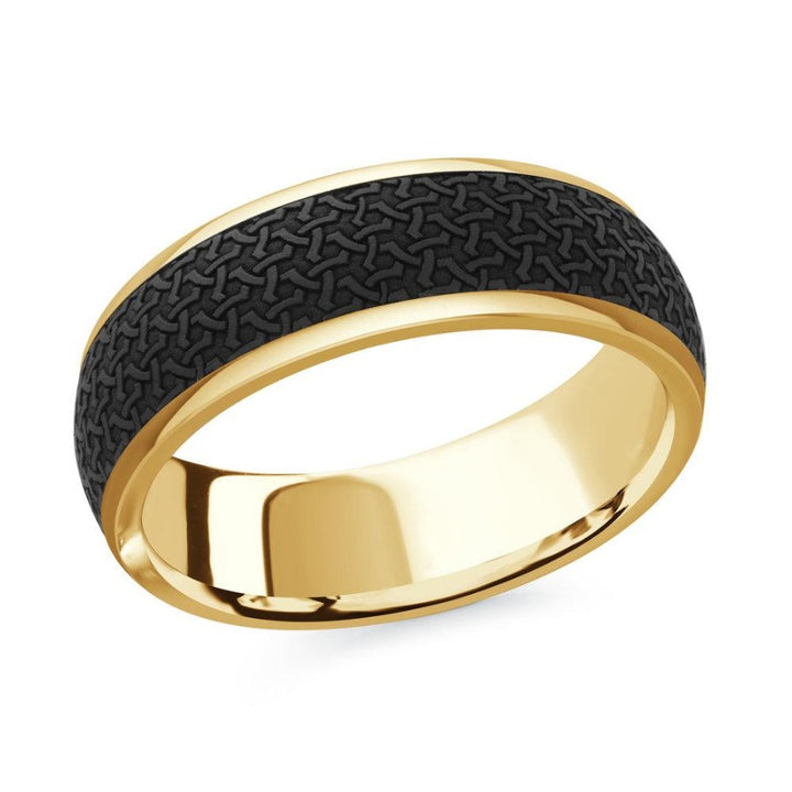 14kt Yellow Gold With Black Carbon Fiber Inlay Men's Wedding Band