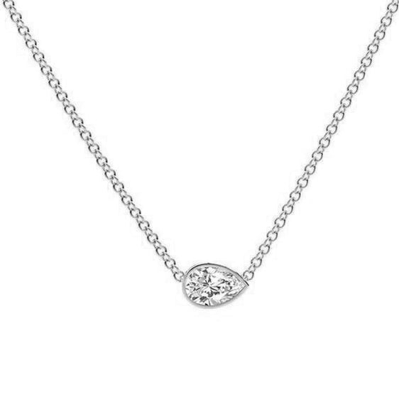 18kt White Gold 0.31ct Pear Shape Diamond Necklace