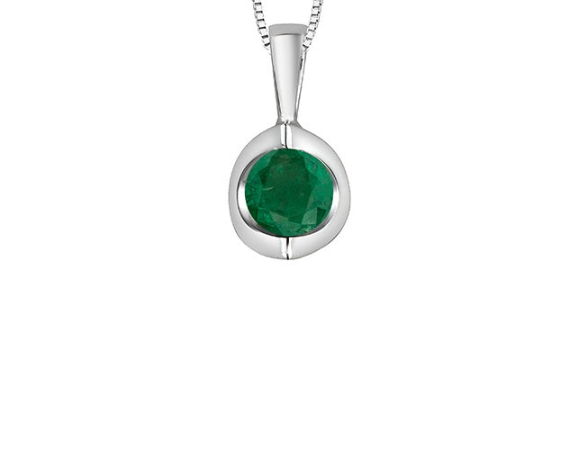 10kt White Gold Emerald Pendant