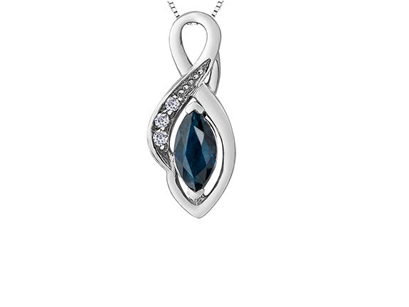 10kt White Gold Sapphire and Diamond Pendant