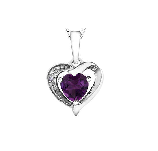 10kt White Gold Amethyst And Diamond Heart Pendant