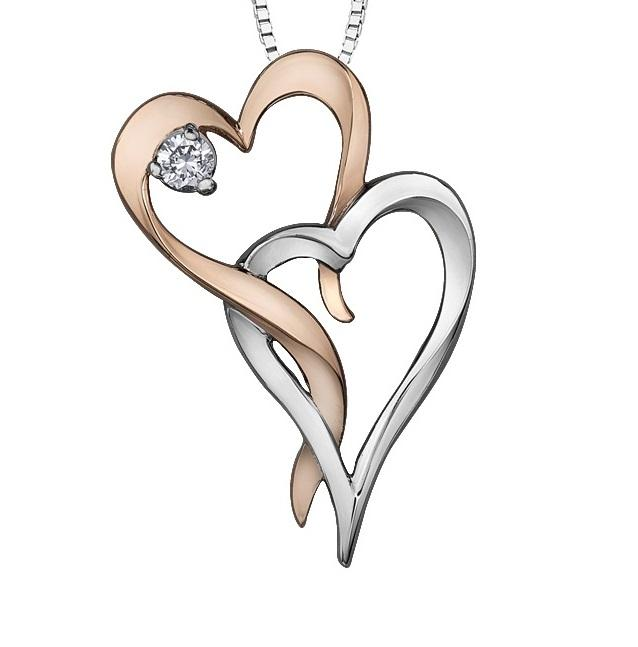 10kt Two Toned Gold Heart Diamond Pendant