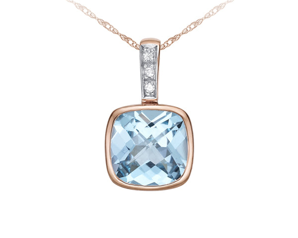 10kt Rose Gold Diamond and Aquamarine Pendant