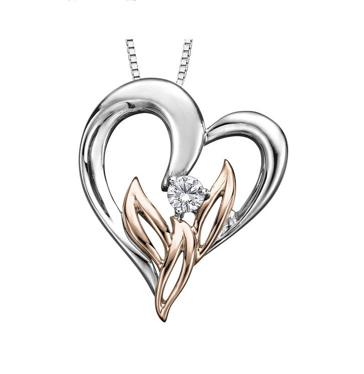 10kt Two Toned Gold Diamond Pendant