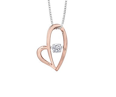 10kt Rose Gold Heart Pulse Diamond Pendant
