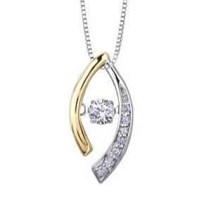 14kt Two-Toned Gold 1.10ct Canadian Diamond Pulse Pendant