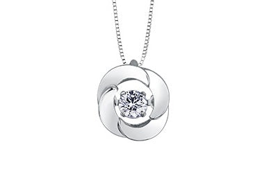 10kt White Gold Solitaire Round Diamond Pulse Pendant