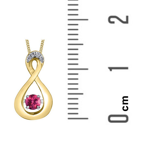 10kt Yellow Gold Pulse Pink Topaz And Diamond Infinity Pendant