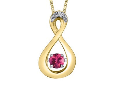 10kt Yellow Gold Pulse Diamond And Pink Topaz Infinity Pendant