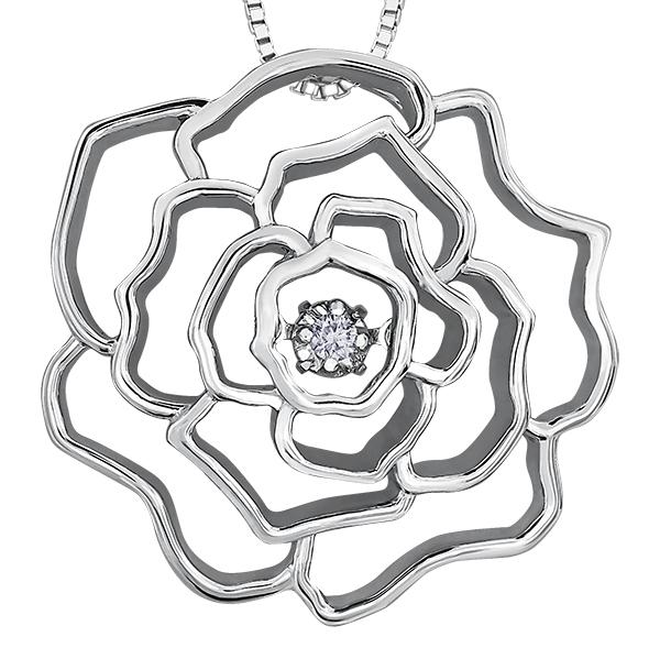 SILVER FLOWER PULSE PENDANT 0.043CT CANADIAN DIAMOND