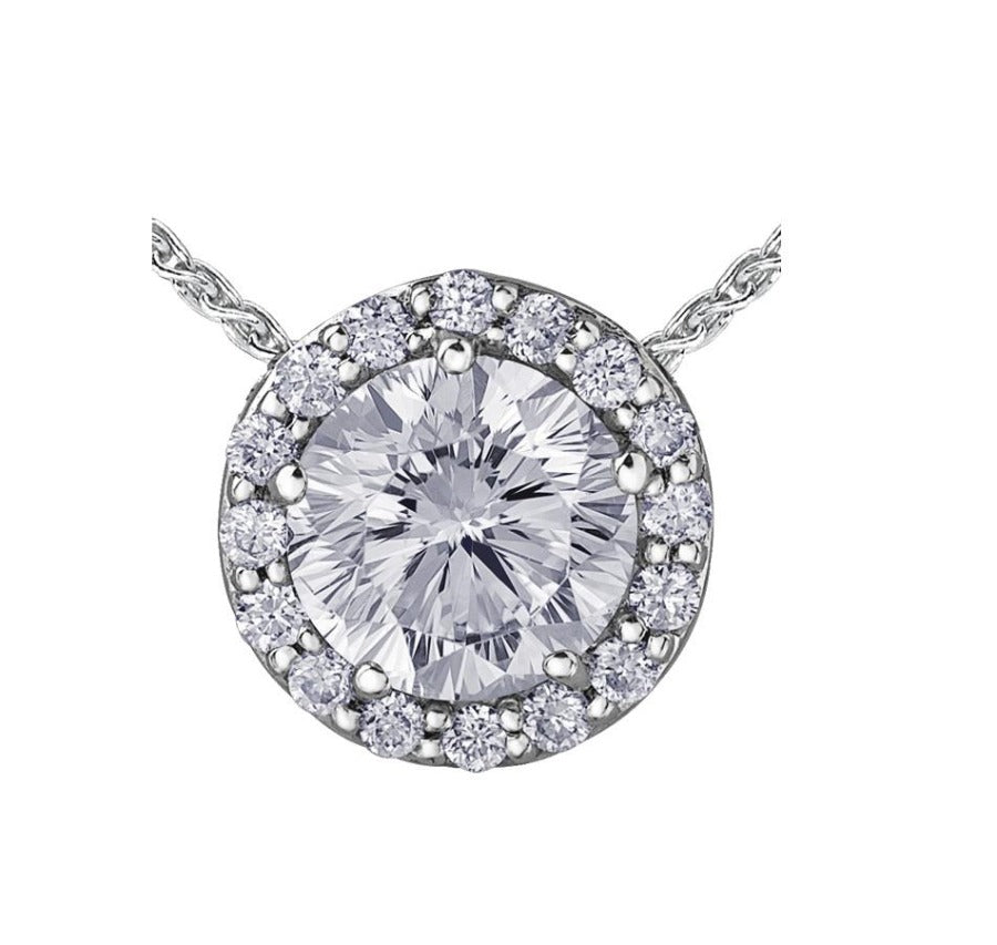 14kt Halo Diamond Pendant 0.79cttw Certified Canadian Center Stone
