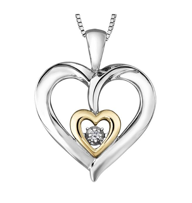 Sterling Silver and 10kt Yellow Gold Heart Diamond Pendant
